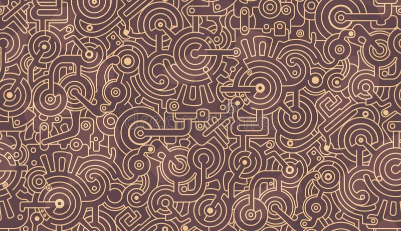 Abstract Naadloos Patroon Technische werktuigkundige, Bouten, toestellen, bouten Licht en donker beige, bruin kleurenpalet stock afbeeldingen