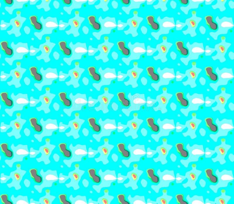 Abstract naadloos patroon van gekleurde vlekken en lijnen rond het cijfer stock illustratie