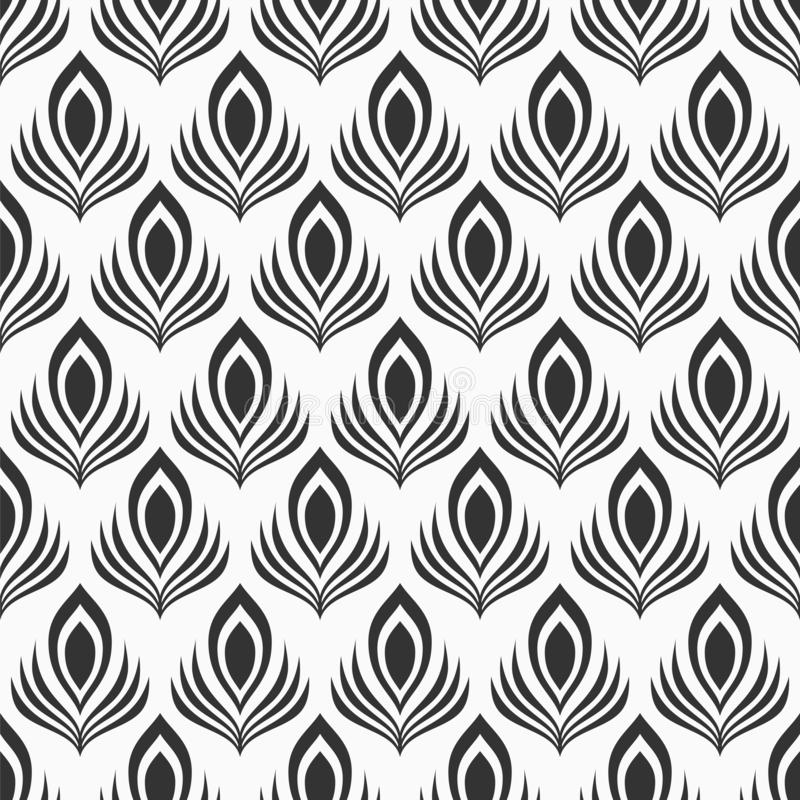 Abstract naadloos patroon van gestileerde pauwveren Zwart-wit elegante vectorachtergrond vector illustratie