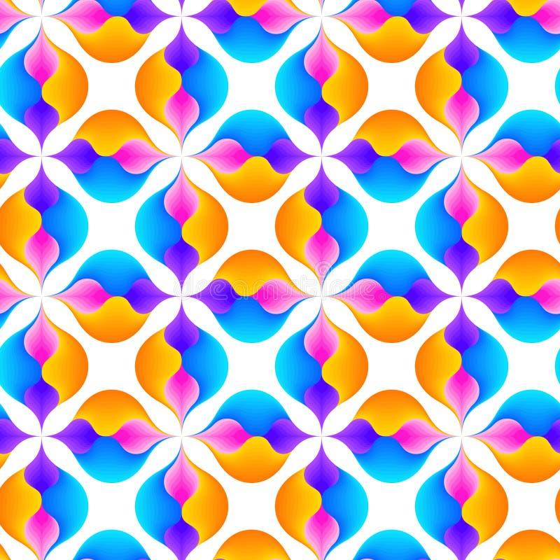 Abstract naadloos patroon van golvende lijnen Rond gemaakte geometrische vormen stock illustratie