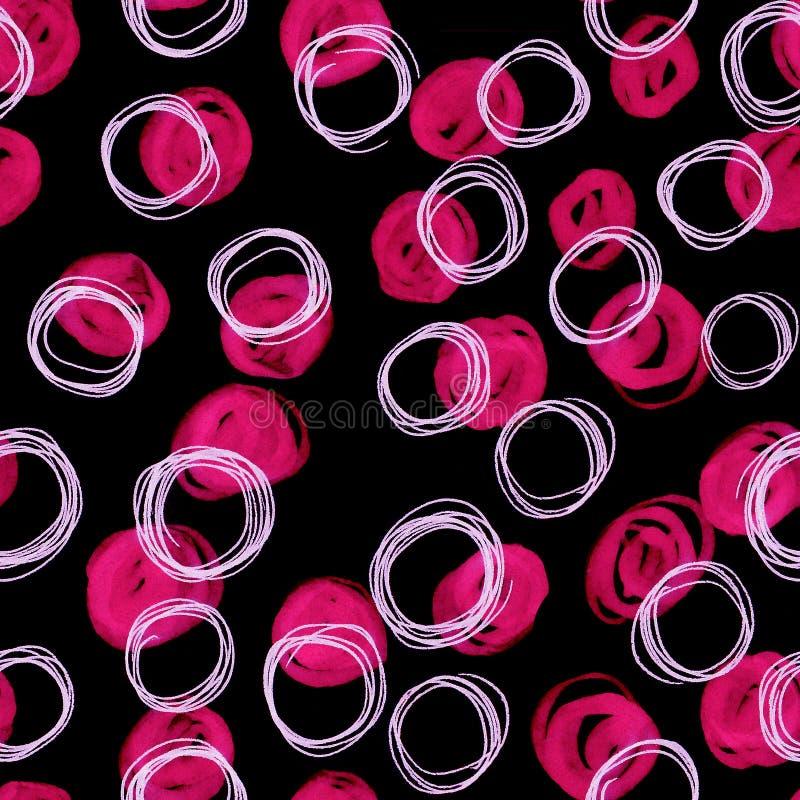 Abstract naadloos patroon van handgetekende, gekleurde doedelcirkels op zwarte achtergrond Creatieve illustratie voor textiel stock fotografie