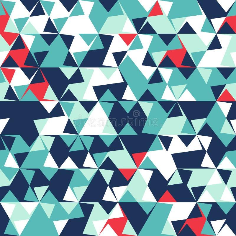 Abstract naadloos patroon van hoeken en driehoeken Optische illusie van beweging Helder de jeugdpatroon royalty-vrije illustratie