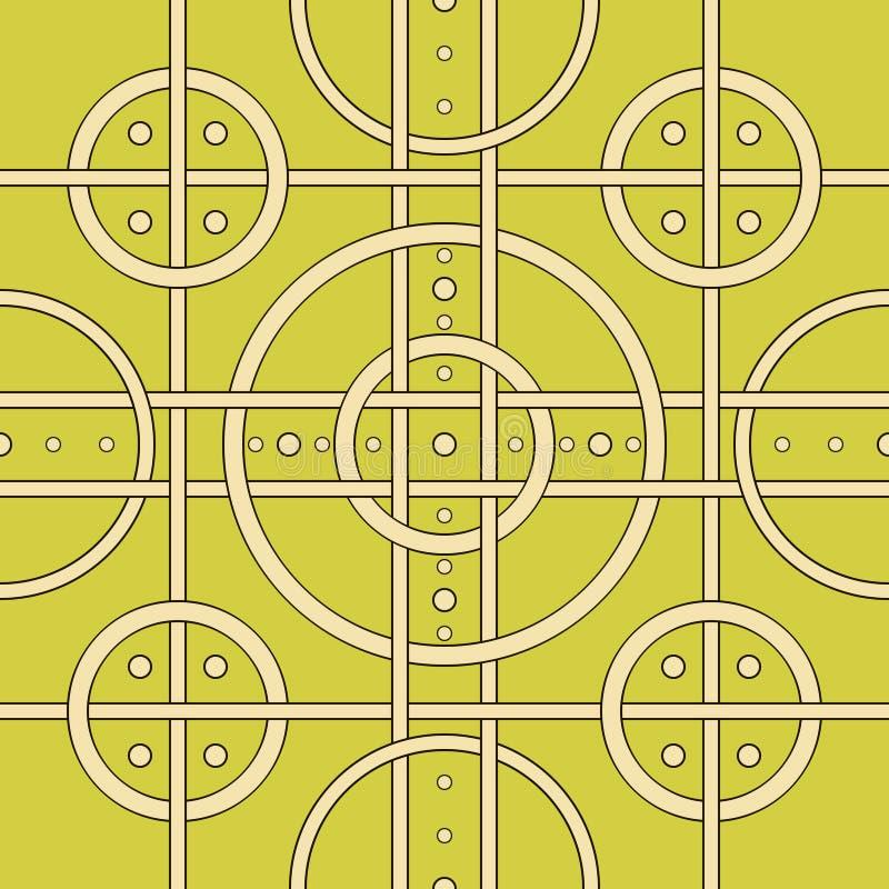 Abstract naadloos patroon van ineengestrengelde strepen en hoepels stock illustratie