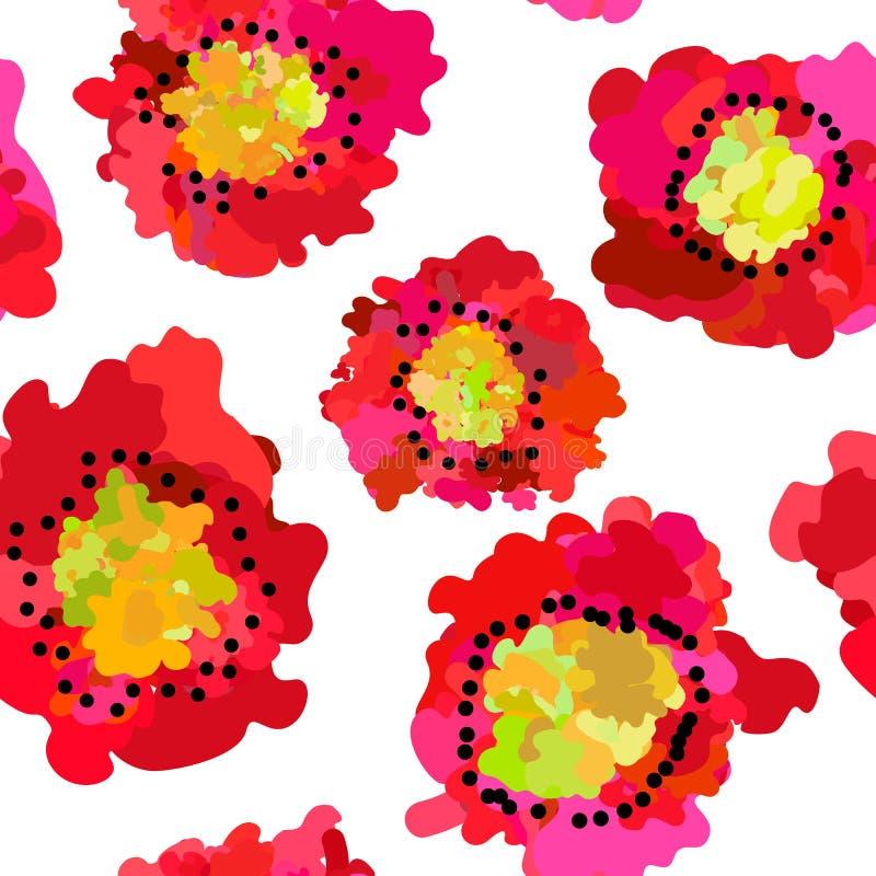 Abstract naadloos patroon van rode papavers op witte achtergrond vector illustratie