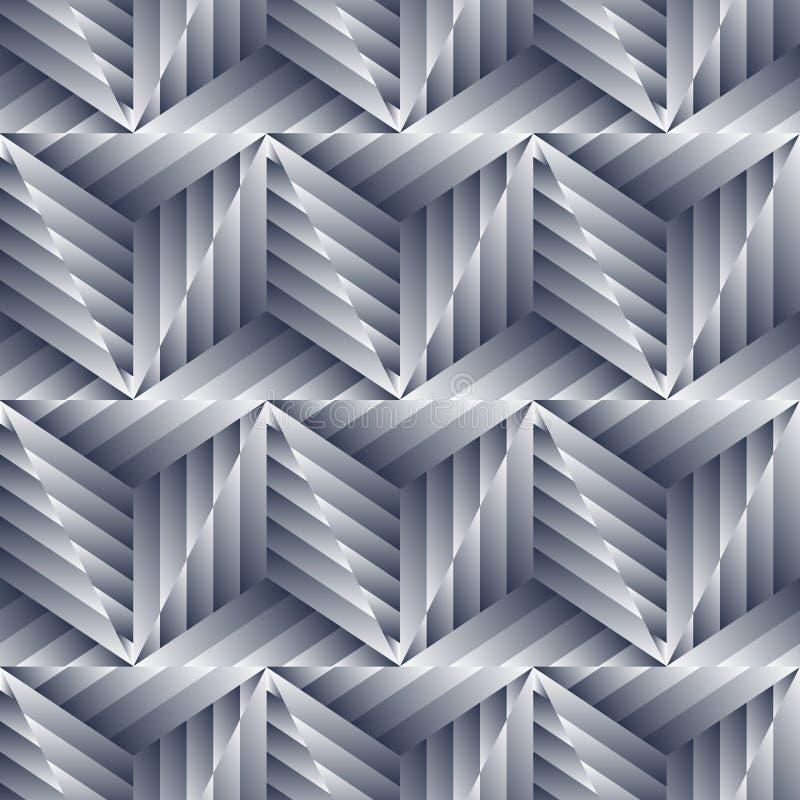 Abstract naadloos patroon van zilveren metaalvormen royalty-vrije illustratie