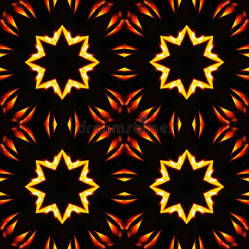 Abstract naadloos patroon, vurige sterren stock illustratie