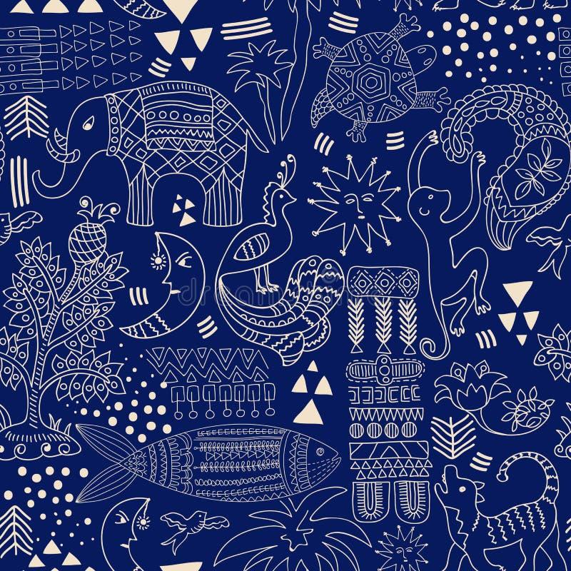 Abstract Naadloos Patroon Zwart-wit tropische achtergrond Hand getrokken achtergrond met decoratieve dieren en geometrische eleme vector illustratie