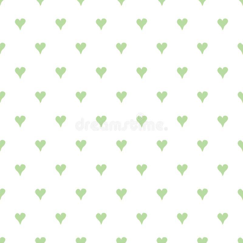 Abstract naadloos vector groen patroon met hand getrokken harten vector illustratie