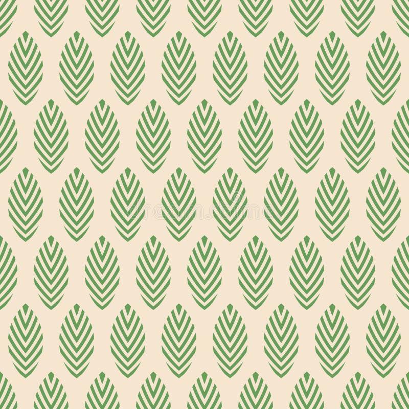 Abstract naadloos vector sierpatroon Regelmatig herhaalde groene bladeren op beige achtergrond royalty-vrije illustratie