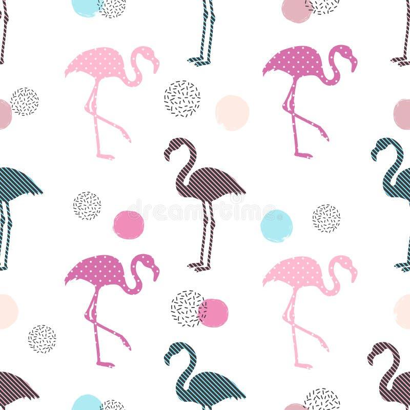 Abstract in naadloos vectorpatroon met flamingo vector illustratie