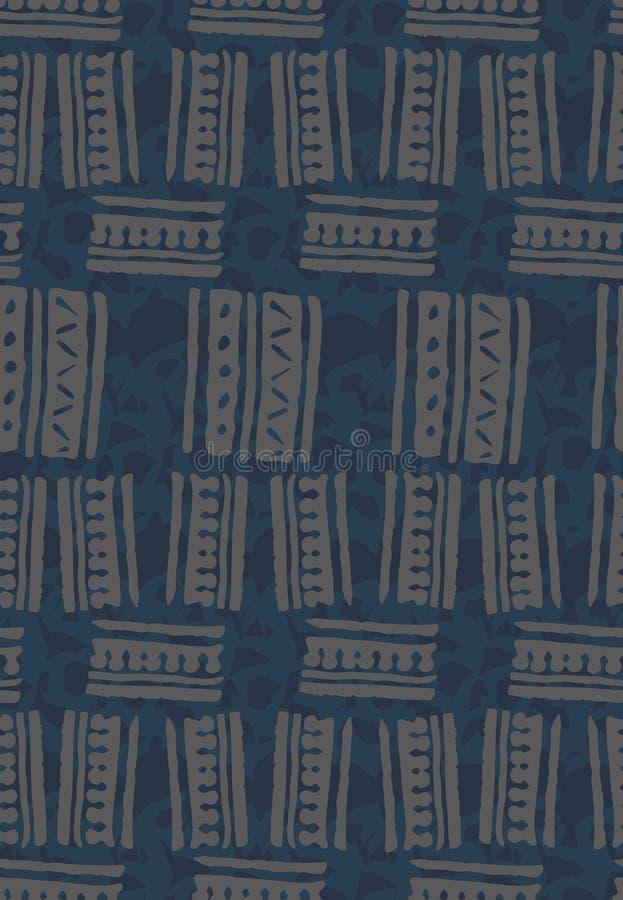 Abstract naadloos vectorpatroon met hand getrokken vierkante vormen op geweven blauwe achtergrond vector illustratie