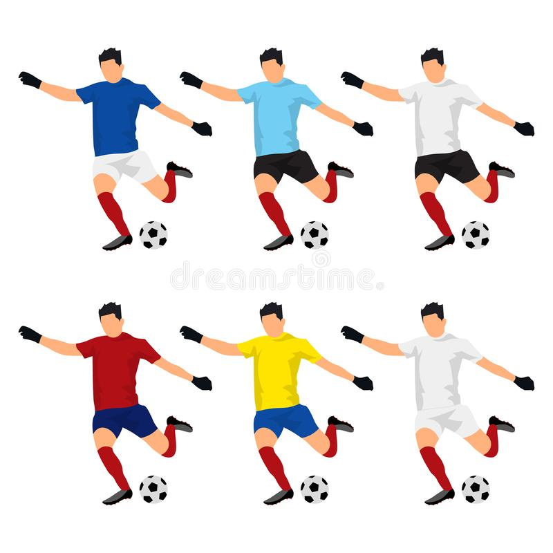 Abstract nationals football uniform:Brazil, German, Argentina, Spain, England, France-vector image with easy editable colors-to stock illustration