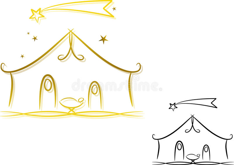 Abstract Nativity Scene. Abstract illustration of the birth of Jesus (two different color versions included: golden color and unicolored/black stock illustration
