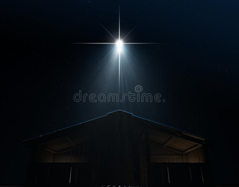Abstract Nativity Scene. A 3D render of an abstract nativity scene of christs birth in bethlehem, a isolated stable being spotlit by a bright star on a dark royalty free illustration