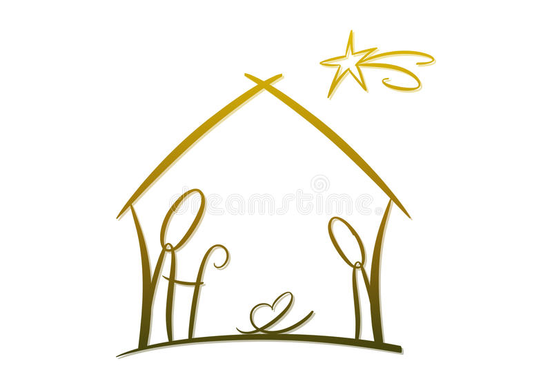 Abstract nativity symbol royalty free illustration