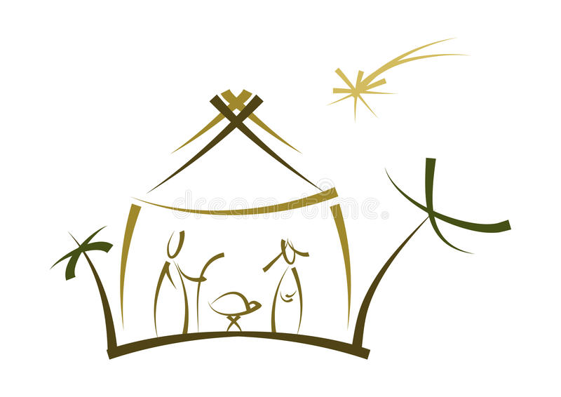 Abstract nativity symbol. Simple modern drawing of nativity scene with family, manger and stars