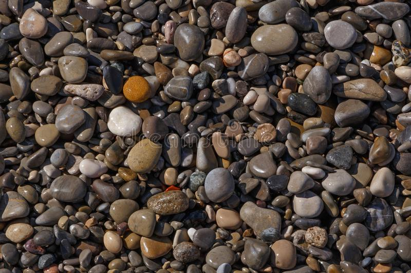 Abstract natural background: pebble stones on beach stock photography