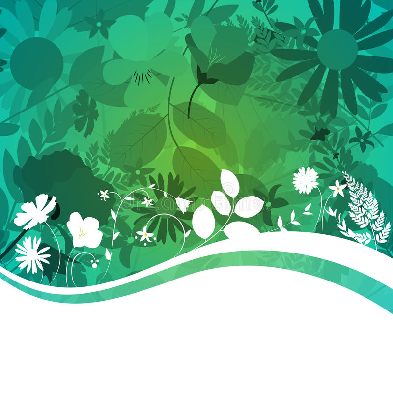 Abstract Natural Spring Background with Flowers and Leaves. vector illustration