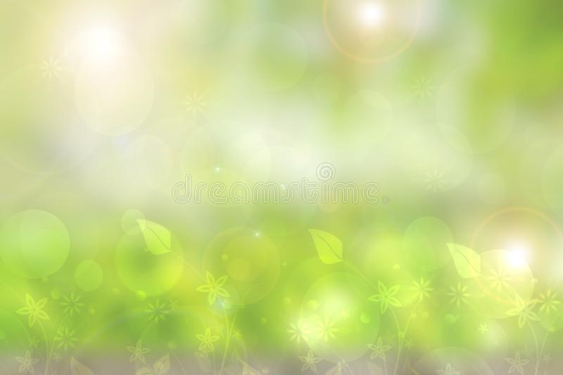 Abstract natural spring light green background texture with leaves and bokeh circles. Space royalty free illustration