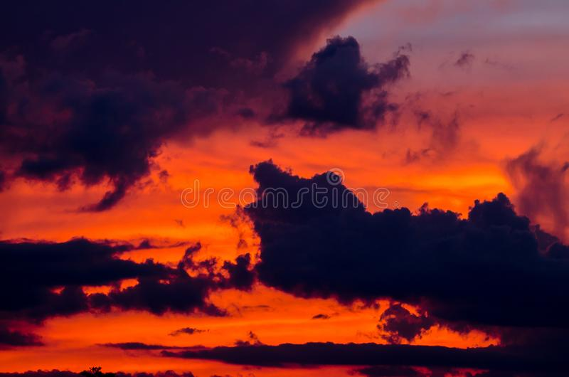 Abstract nature background. Dramatic sky with clouds and sunset royalty free stock image