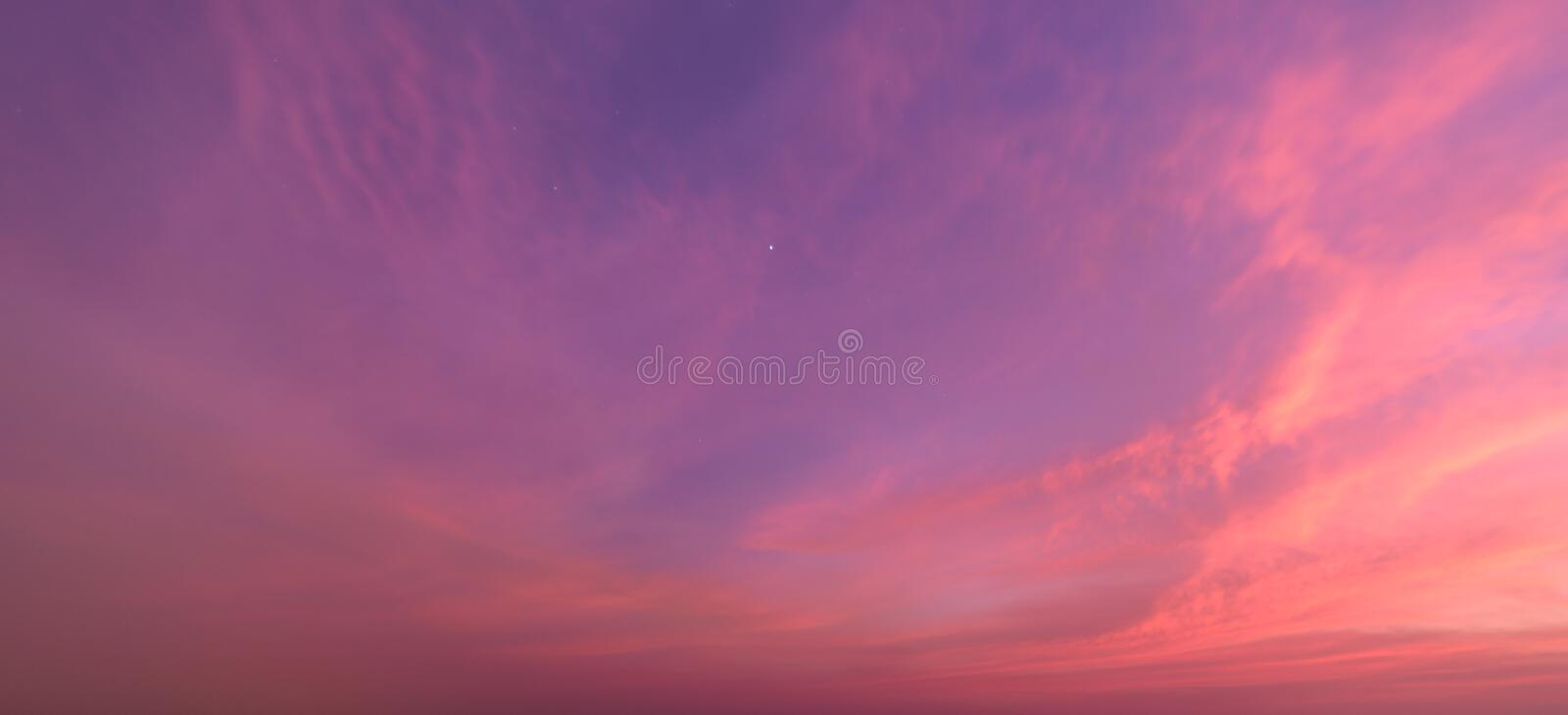 Abstract nature background.Moody pink, purple clouds sun set sky stock photography
