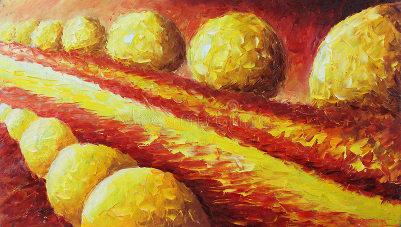 The abstract nature of the balls lie along the road. Original oil painting the abstract nature of the balls lie along the road on canvas. Impasto artwork royalty free illustration