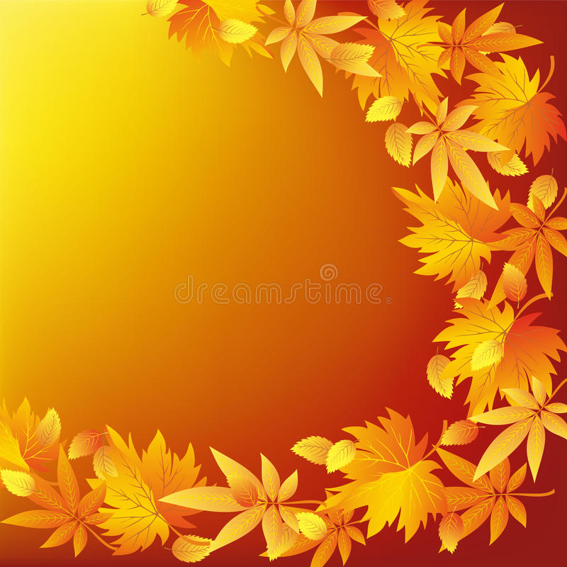 Abstract Nature Golden Background With Leaf Fall Stock
