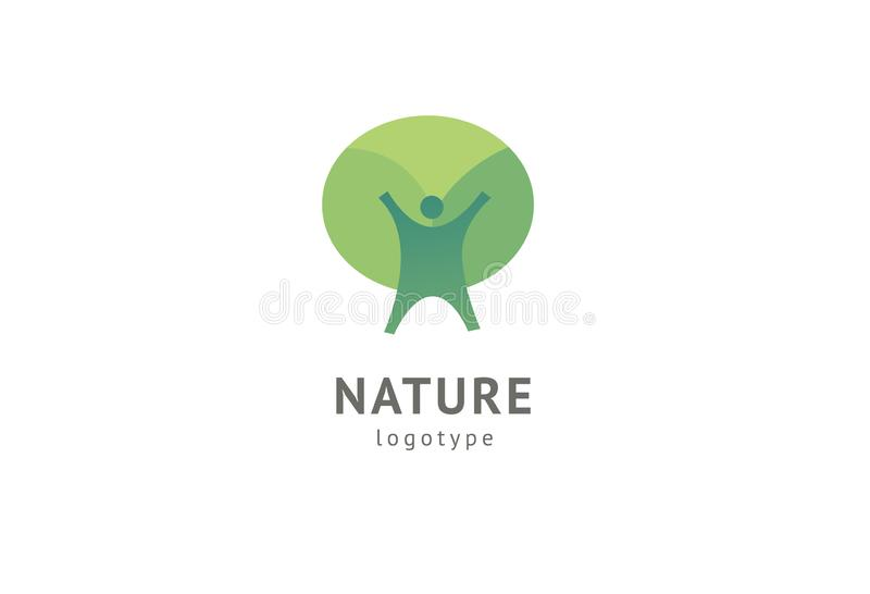 Abstract nature logo icon  design. Healthy eco food, ecology, spa, diet, yoga, Environment day  logo. Happy people stock illustration