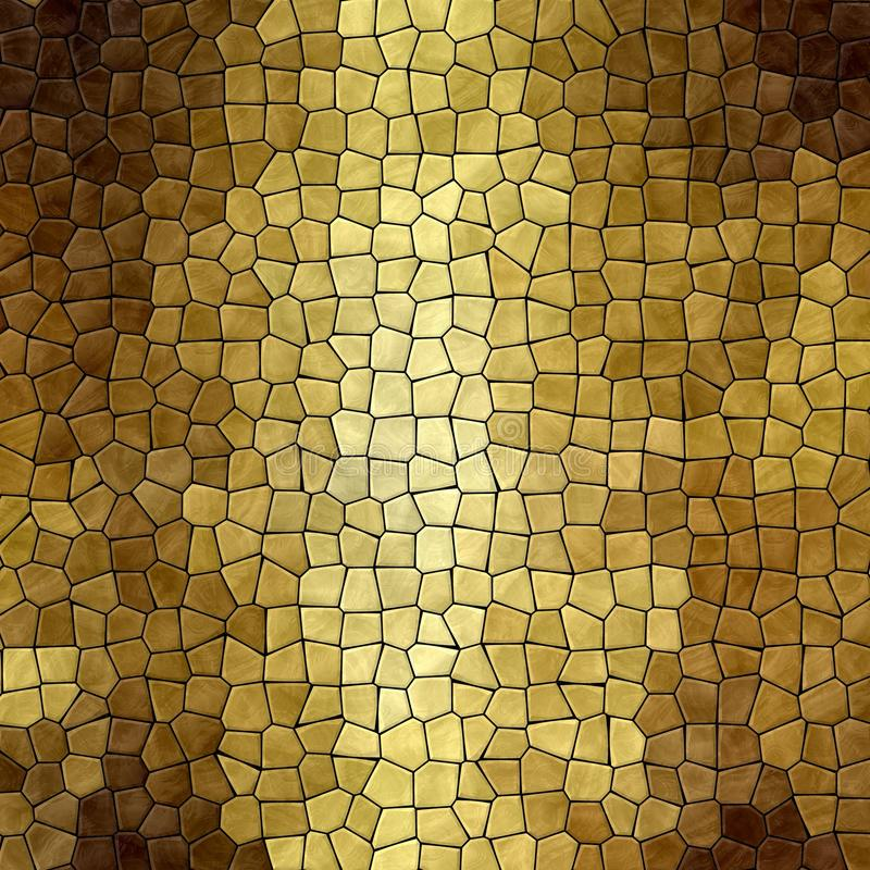 Nature marble plastic stony mosaic tiles texture background with black grout - gold yellow brown colors. Abstract nature marble plastic stony mosaic tiles stock illustration