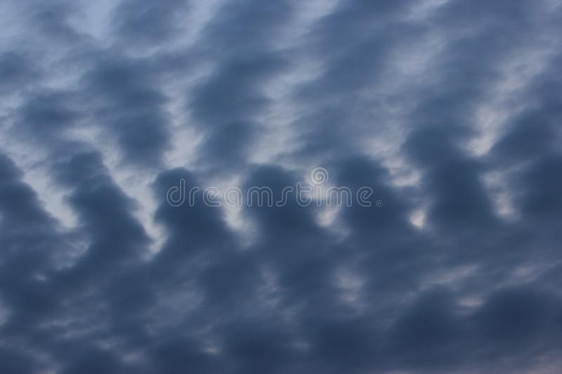 Abstract nature natural Weather Blue Grey wave cloud pattern sky background. Interesting natural cloudy sky weather abstract patterned sky background. Swirly royalty free stock images
