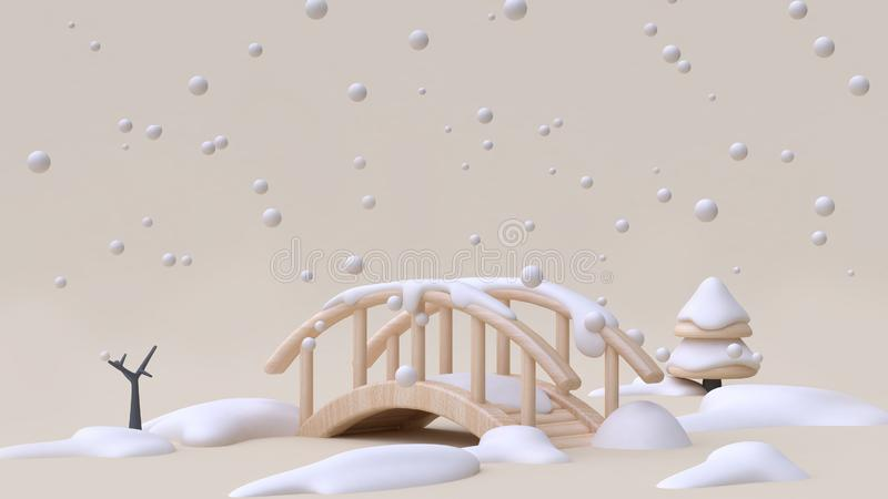 Abstract nature snow winter new year concept wood bridge cartoon style minimal cream background 3d render vector illustration