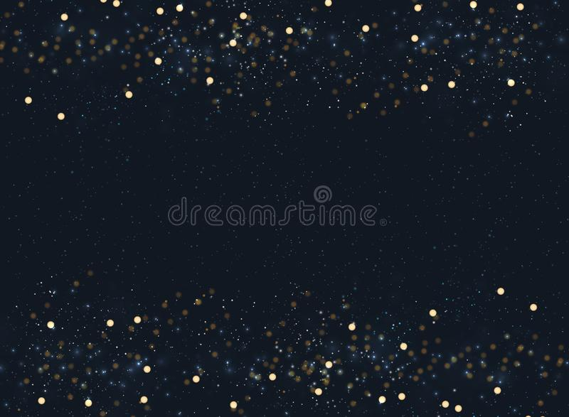 Abstract navy blue blurred background with bokeh and gold glitter header footers. Copy space. stock illustration