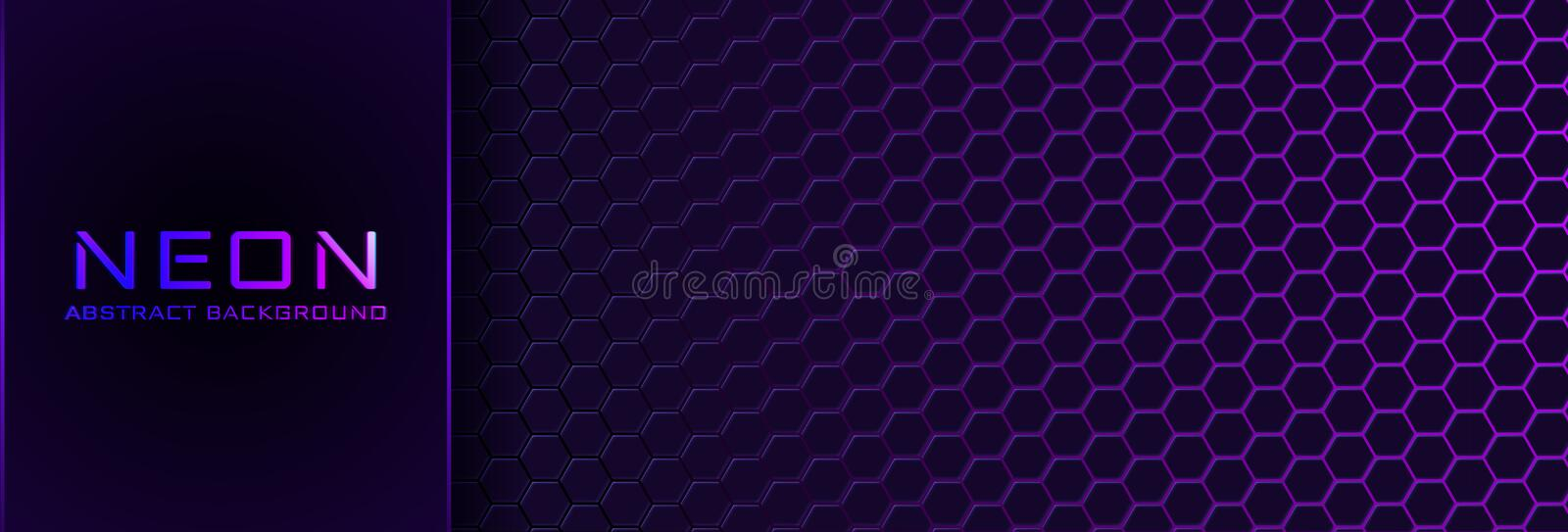 Abstract neon background with violet light, line and texture. Vector banner design in dark night colour royalty free illustration