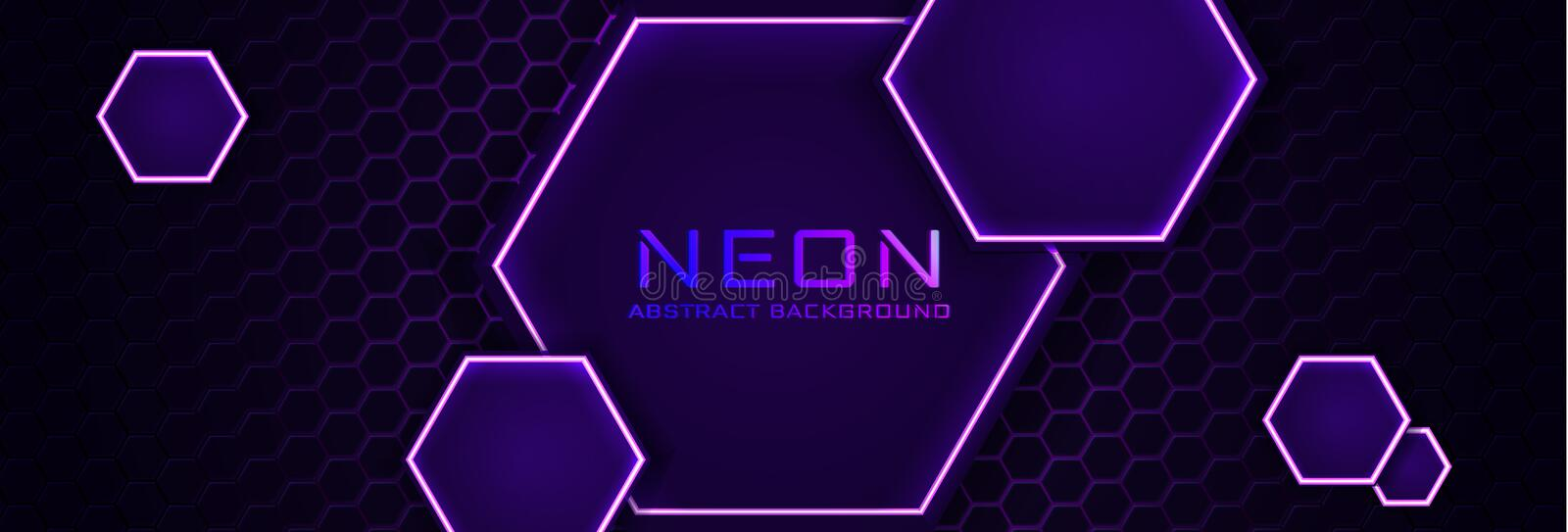 Abstract neon infographic background with violet light, line and texture. Vector banner design in dark night colour vector illustration