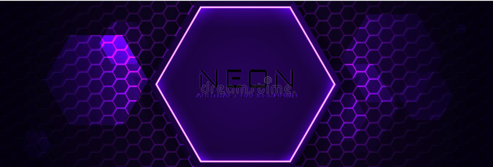 Abstract neon infographic background with violet light, line and texture. Vector banner design in dark night colour royalty free illustration