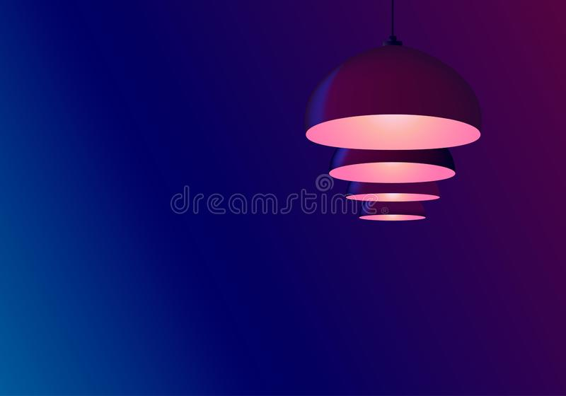 Abstract neon blue background. Billiard lamps hang in a row. Pendant bulbs  bulbs shine pink. Copy space for text, template. Abstract neon blue background royalty free illustration