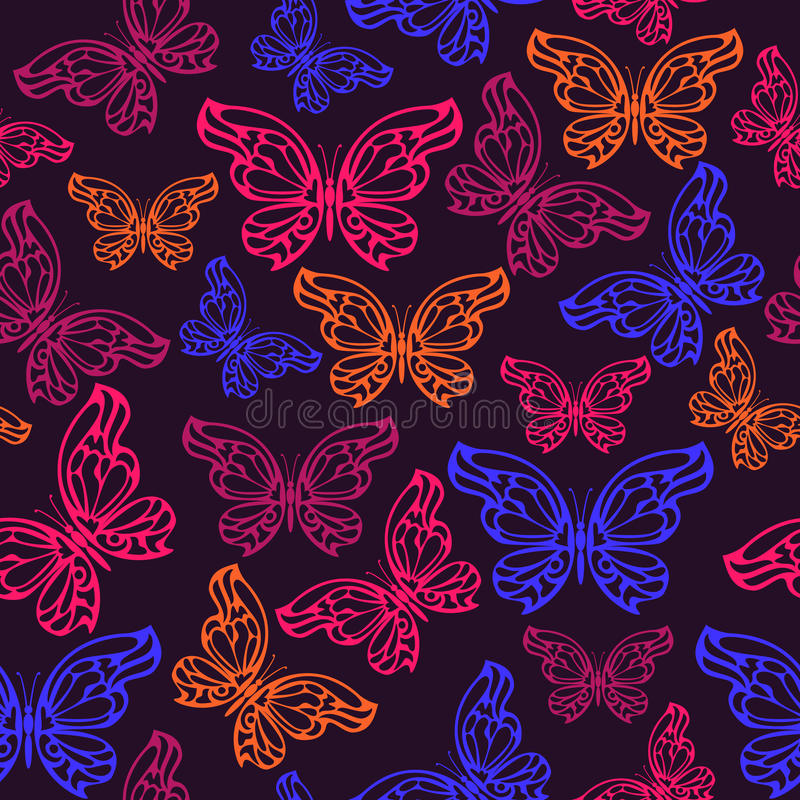 Abstract neon butterfly seamless pattern. Vector illustration vector illustration