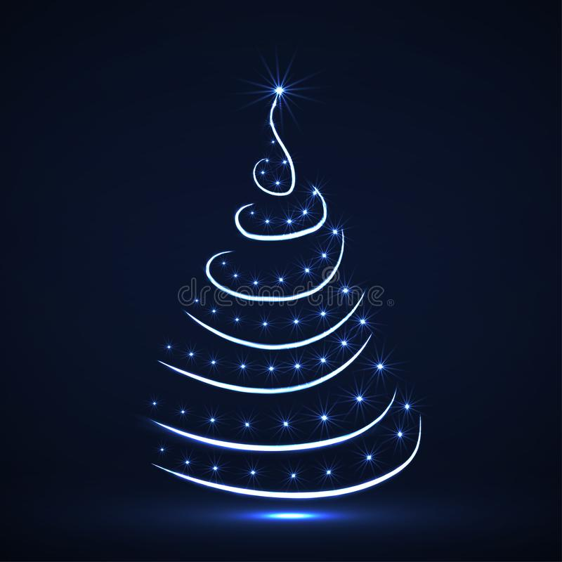 Abstract neon Christmas tree with glowing stars and strips royalty free illustration