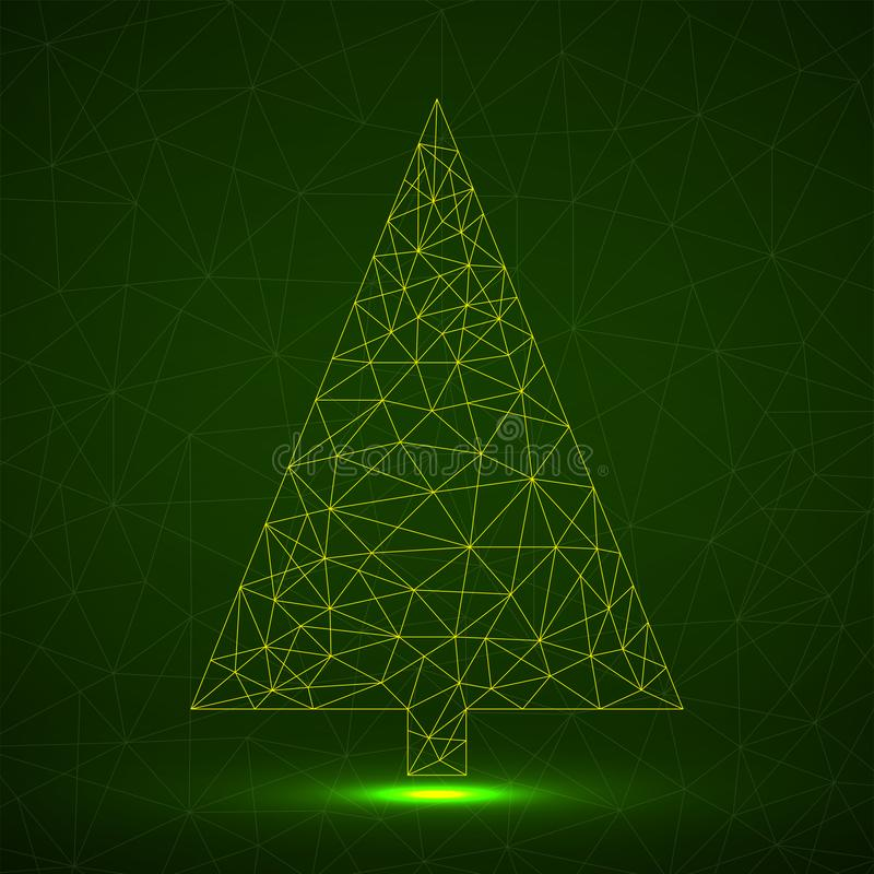 Free Abstract Neon Christmas Tree Of Lines Stock Image - 163421691