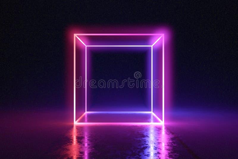Abstract neon cube brightly shining in dark room. 3D rendered illustration.  vector illustration