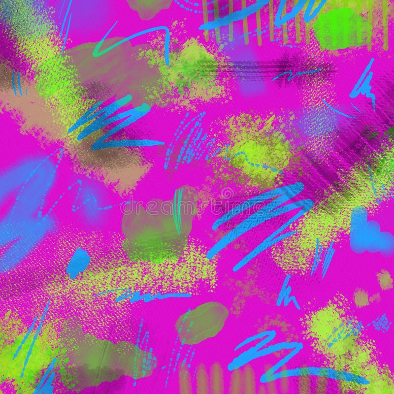 Free Abstract Neon Geometrical 80s And 90s Hand Draw Glamour Pattern With Neons Colors. Neon Watercolor Brush Paint Glam Stock Photos - 108207643