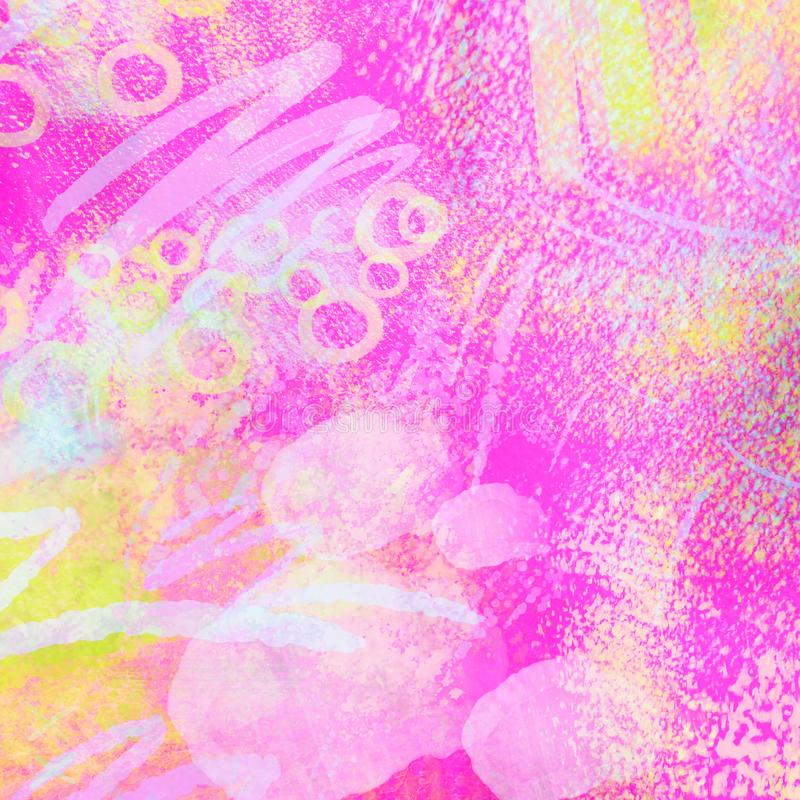 Free Abstract Neon Geometrical 80s And 90s Hand Draw Glamour Pattern With Neons Colors. Neon Watercolor Brush Paint Glam Stock Photography - 108810122