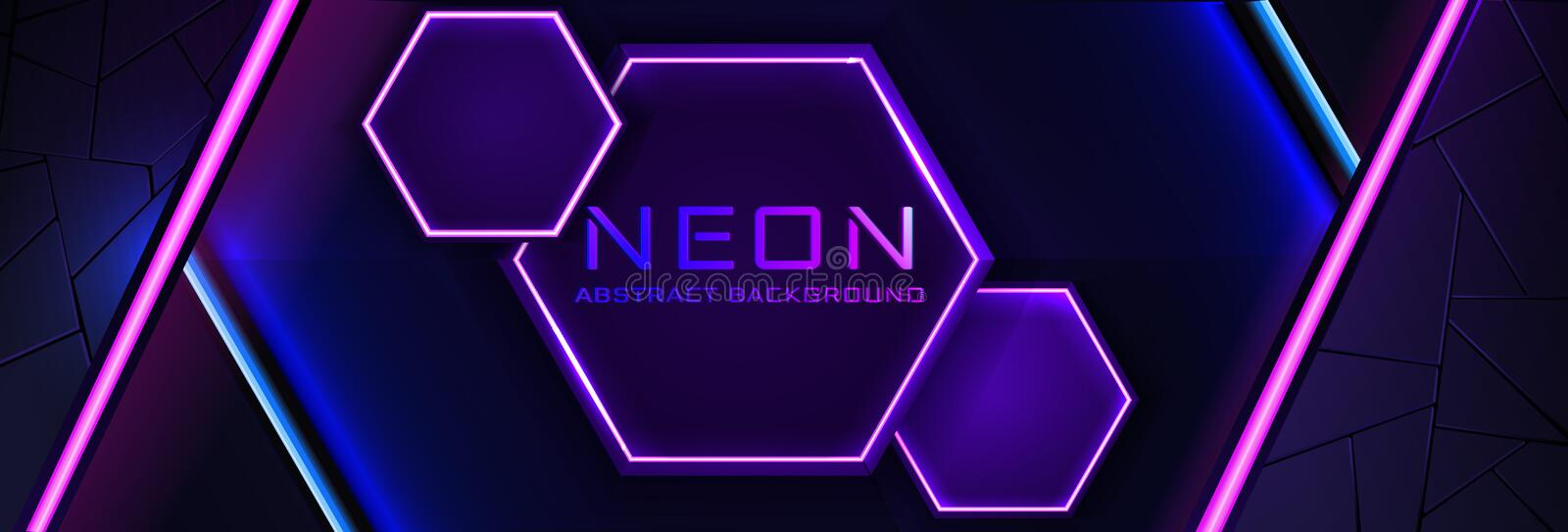 Abstract neon infographic background with violet light, line and texture. Vector banner design in dark night colour stock illustration