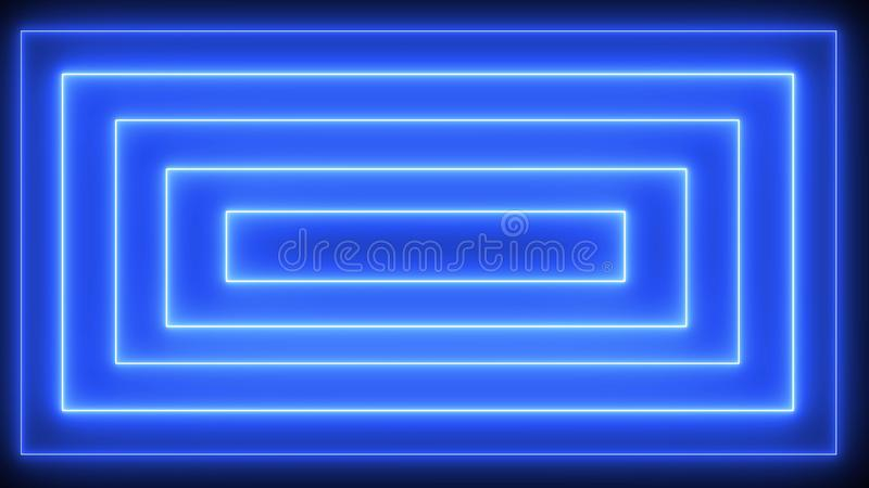 Abstract neon, led square, border. Futuristic colorful render stock illustration