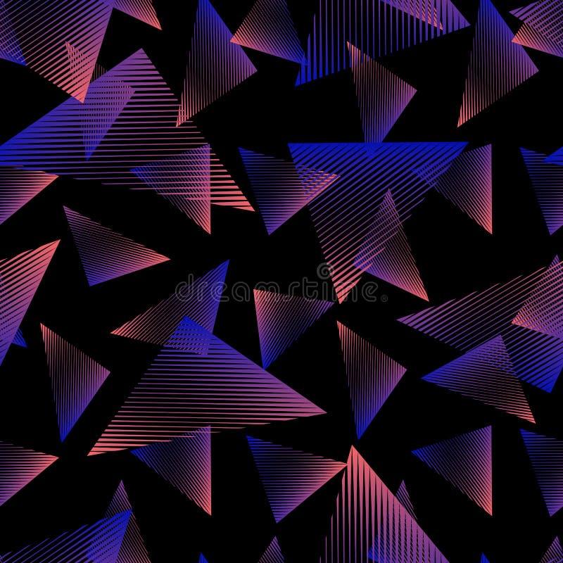 Abstract neon naadloos patroon Retro jaren '80 - het ontwerp van de jaren '90manier Het art. van de sportstijl vector illustratie