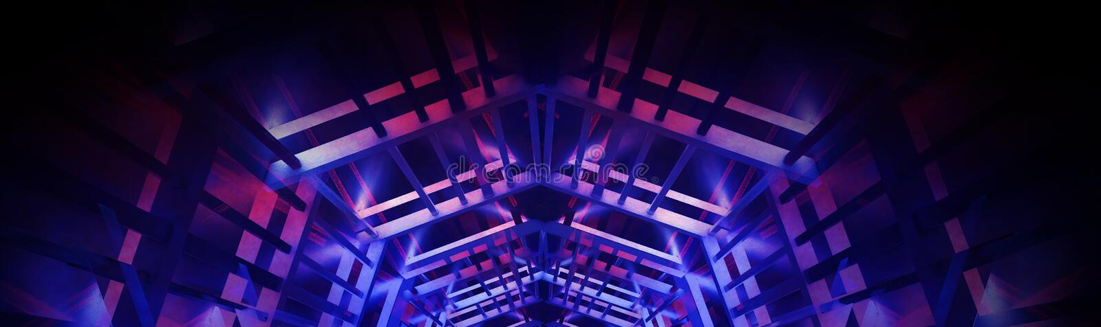 Abstract neon panoramic background, blue and pink color, black, the play of light. stock image