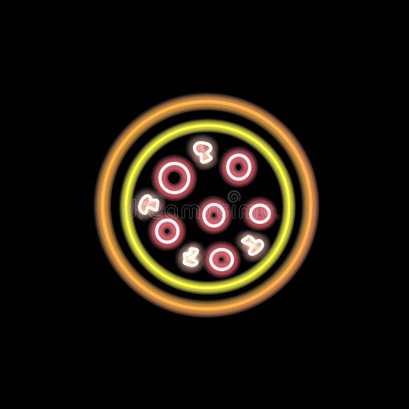 Abstract neon pizza icon royalty free illustration