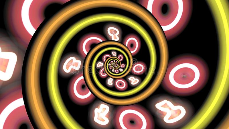 Abstract neon pizza spiral stock illustration