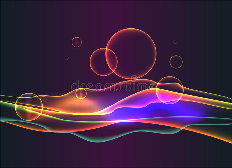 Abstract neon waves and bubbles, liquid glitter stock illustration