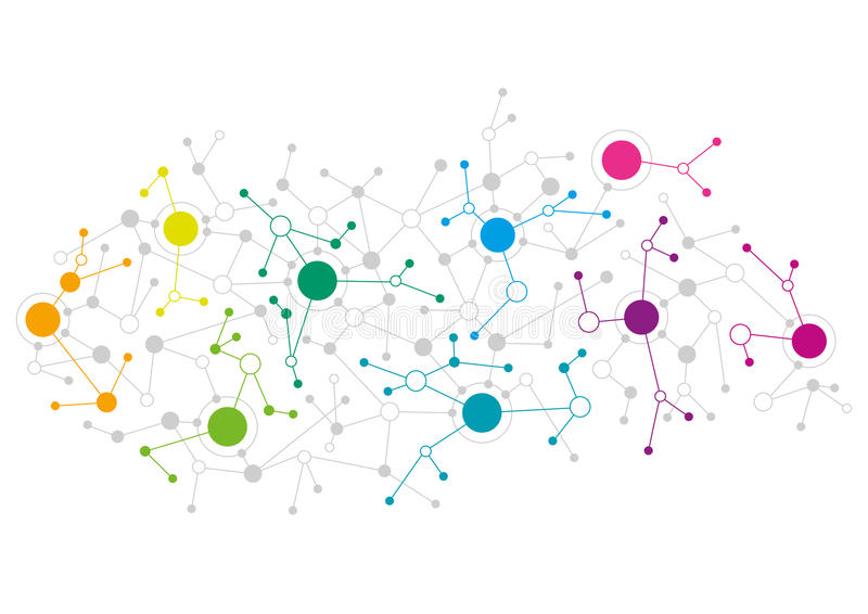 Abstract network design. With colourful dots connecting to each other stock illustration